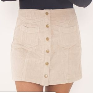 NEW w/o Tag Beige Corduroy Button Snap Up Skirt